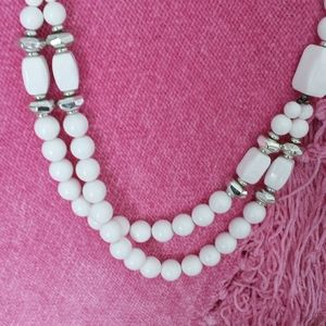 2 for 20 White/Silver Colored Two Strand Necklace